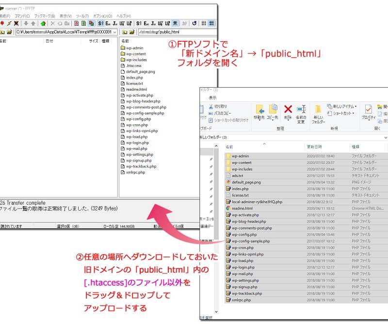 FFFTPを使用して新ドメインpublic_htmlないへ旧データーをアップする様子