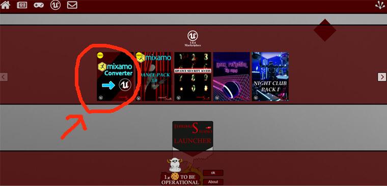 Mixamo_Converterのダウンロードページへは赤丸をクリック